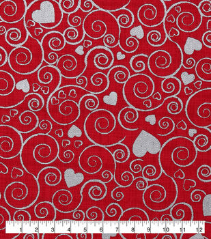 Valentine's Day Cotton Fabric-Metallic Hearts & Scrolls on Red