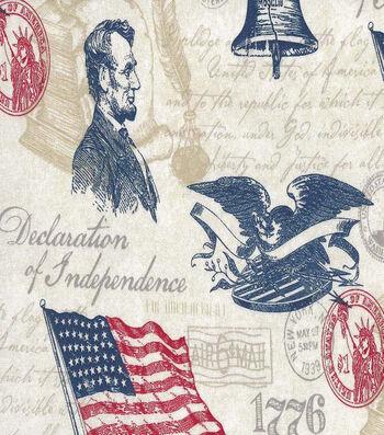 """Patriotic Cotton Fabric 44""""-Declaration"""