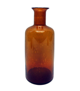 Simply Autumn Large Glass Vase-Amber