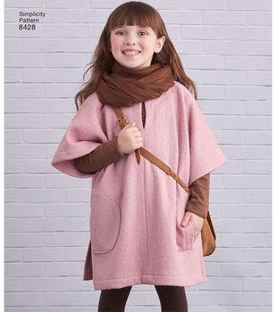 Simplicity Pattern 8428 Children's Poncho-Size A (S-M-L)