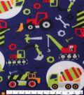Blizzard Fleece Fabric 59\u0022-Construction Trucks