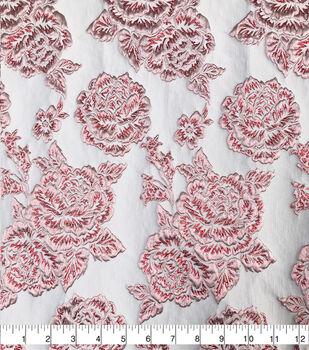 Sew Sweet Rose Brocade Fabric-Ribbon Red/Black