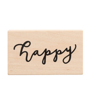 American Crafts Wooden Stamp Happy