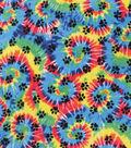 Anti-Pill Plush Fleece Fabric-Paw Prints On Tie Dye