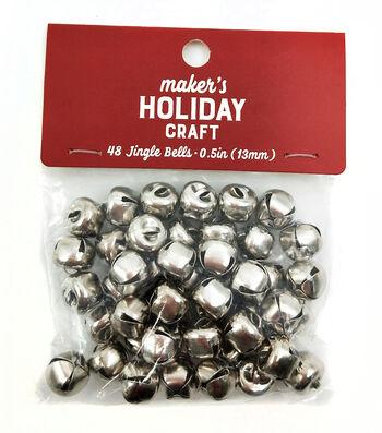 Maker's Holiday Craft Christmas 48 pk 0.5'' Bells-Silver