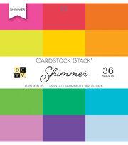 DCWV Pack of 36 6''x6'' Printed Cardstock Stack-Shimmer, , hi-res