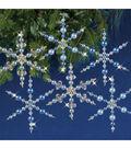 Solid Oak Nostalgic Christmas Beaded Crystal Snowflake Ornament Kit-Blue