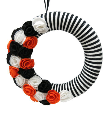 Maker's Halloween Black White Fabric Rose Wreath
