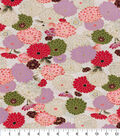 Asian Inspired Cotton Fabric 44\u0022-Lotus Flowers Cream Met
