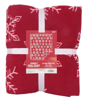 Maker's Holiday Christmas No Sew Throw Kit-Red Snowflakes