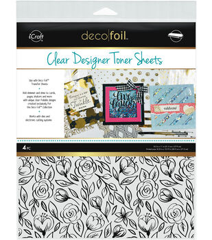 Deco Foil 4 pk 8.5''x11'' Clear Designer Toner Sheets-Floral Sketch