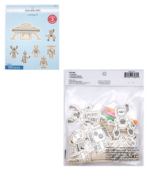 Little Makers Wood Coloring Kit-Robot