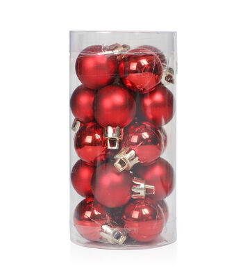 Maker's Holiday Christmas 20 pk 25 mm Shatterproof Ornaments-Red