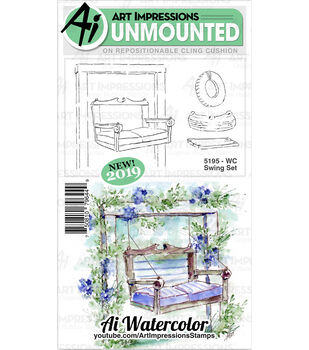 Art Impressions Watercolor Cling Rubber Stamps WC Swing