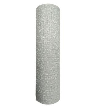 Handmade Holiday Christmas Mesh Ribbon 10.5''x15'-Snow on White
