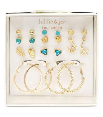 hildie & jo 11-pair Gold Post & Hoop Earrings