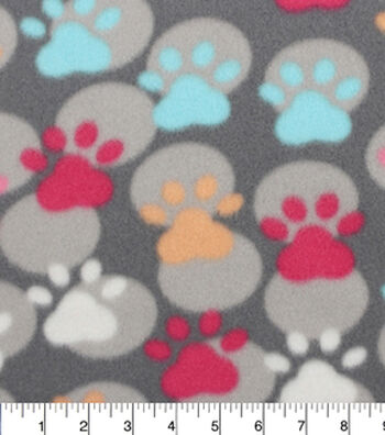"Blizzard Fleece Fabric 59""-Paw Prints And Dots"