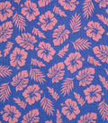 Doodles Juvenile Apparel Fabric -Pink Leaf Pucker on Blue