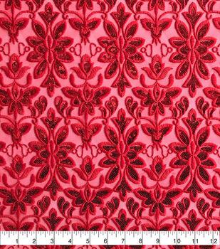 Sew Sweet Mesh Fabric-Damask on Ribbon Red