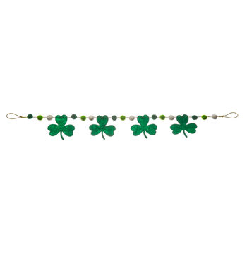 St. Patrick's Day Felt Shamrock & Pom Pom Garland