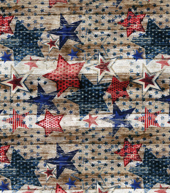 Patriotic Fabric 43''-Stars on Wood Planks