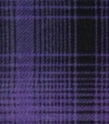 Specialty Fleece Fabric-Purple Mica & Black Plaid