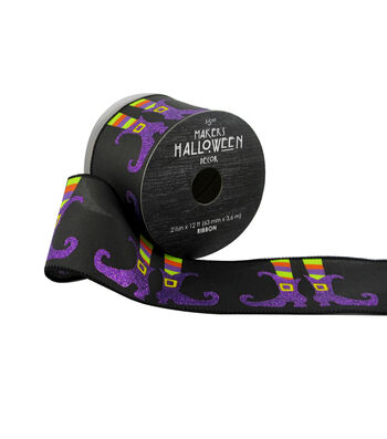Maker's Halloween Ribbon 2.5''x12'-Witch Feet on Black