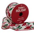 Maker\u0027s Holiday Christmas Ribbon 2.5\u0027\u0027x25\u0027-Red Cardinals on White