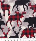 Anti-Pill Plush Fleece Fabric-Aspen Red Black Multi Animal Pattern