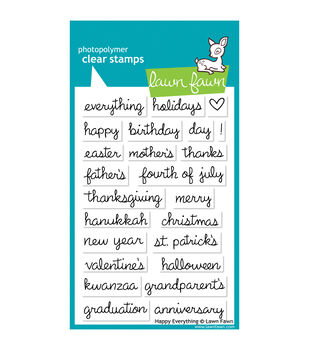 """Lawn Fawn Clear Stamps 4""""X6""""-Happy Everything"""