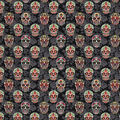 Novelty Cotton Fabric -Decorative Skulls On Black Floral