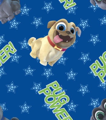 Disney Junior Puppy Dog Pals Cotton Fabric -Pug Power