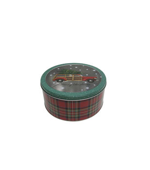 Handmade Holiday Christmas Large Round Cookie Tin with Clear Top-Truck