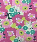 Doodles Juvenile Apparel Fabric-Modern Floral on Pink