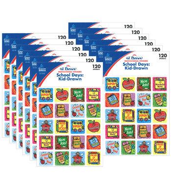 Carson Dellosa School Days: Kid-Drawn Motivational Stickers 12 Packs