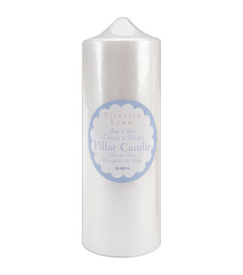 "3""x8"" Pearlized Pillar Candle-White"