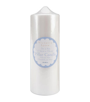 """3""""x8"""" Pearlized Pillar Candle-White"""