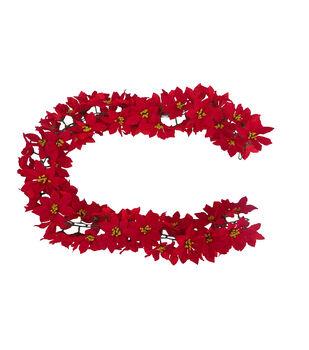 Handmade Holiday Christmas 66'' Poinsettia Chain Garland-Red