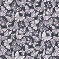 Keepsake Calico Cotton Fabric-Glitter Butterflies Gray