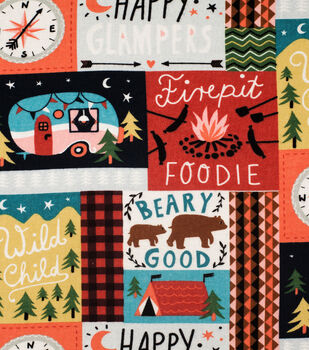 Super Snuggle Flannel Fabric-Happy Glampers Patchwork