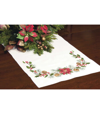 """Stamped Cross Stitch Table Runner 15""""X44""""-Christmas Greens"""