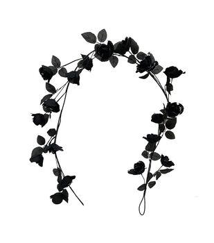 Maker's Halloween Rose Floral Garland-Black