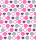 Snuggle Flannel Fabric -Pink Hearts & Dots