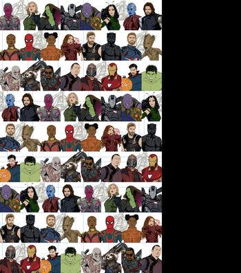 Marvel Avengers Cotton Fabric-Infinity War Blocks