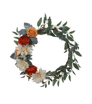Blooming Autumn Greenery & Rose Minimalist Wreath-Ivory