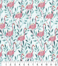 Premium Cotton Fabric-Flamingos with Teal Leaves