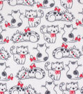 Blizzard Fleece Fabric-White & Black Sketched Cats