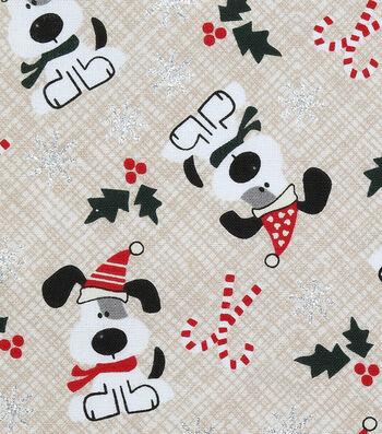"Christmas Cotton Fabric 43""-I Woof You Holiday Cream Glitter"