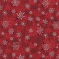 Christmas Cotton Fabric-Layered Snowflake Red Metallic