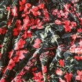 Ember Knit Prints Stretch Poly Spandex Fabric-Black Red Multi Floral